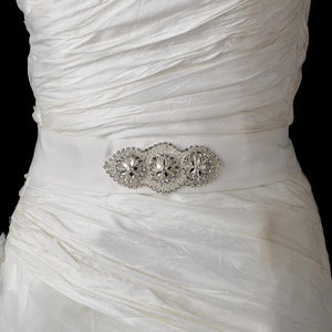 Crystals Glass Bead Bridal Sash Satin Belt - La Bella Bridal Accessories