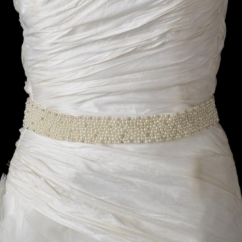 Ivory Pearl Glass Bead Wedding Sash Belt - La Bella Bridal Accessories