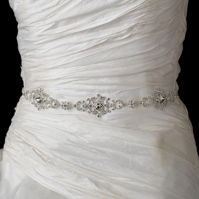 Beautiful Crystal Wedding Belt with Ribbon - La Bella Bridal Accessories