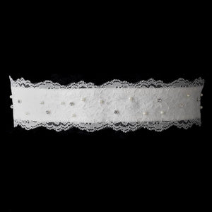 Pearls Crystals on Embroidered Lace Wedding Sash - La Bella Bridal Accessories