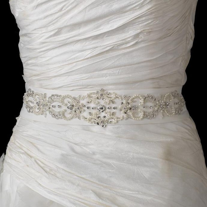 Pearl Rhinestone Beaded Belt - La Bella Bridal Accessories