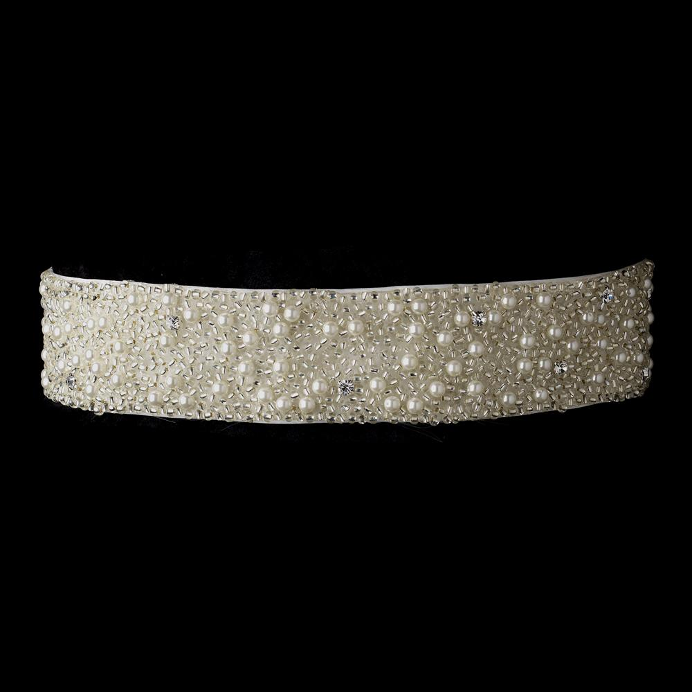 Pearl, Crystals Glass Bead Wedding Sash Bridal Belt - La Bella Bridal Accessories