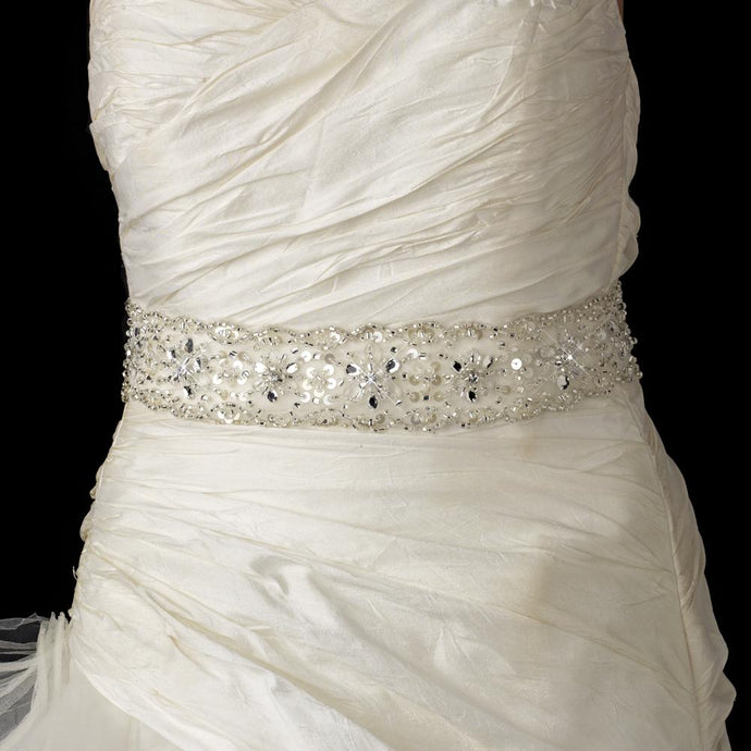 Beaded Sash Bridal Belt with Crystals, Bugle Beads Sequins - La Bella Bridal Accessories