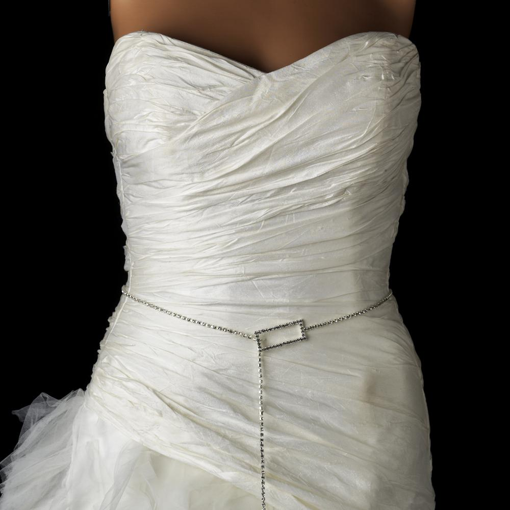 Square Style Crystal Bridal Belt Sash - La Bella Bridal Accessories