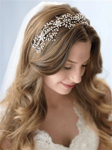 Floral Crystal Couture Headband Tiara - La Bella Bridal Accessories