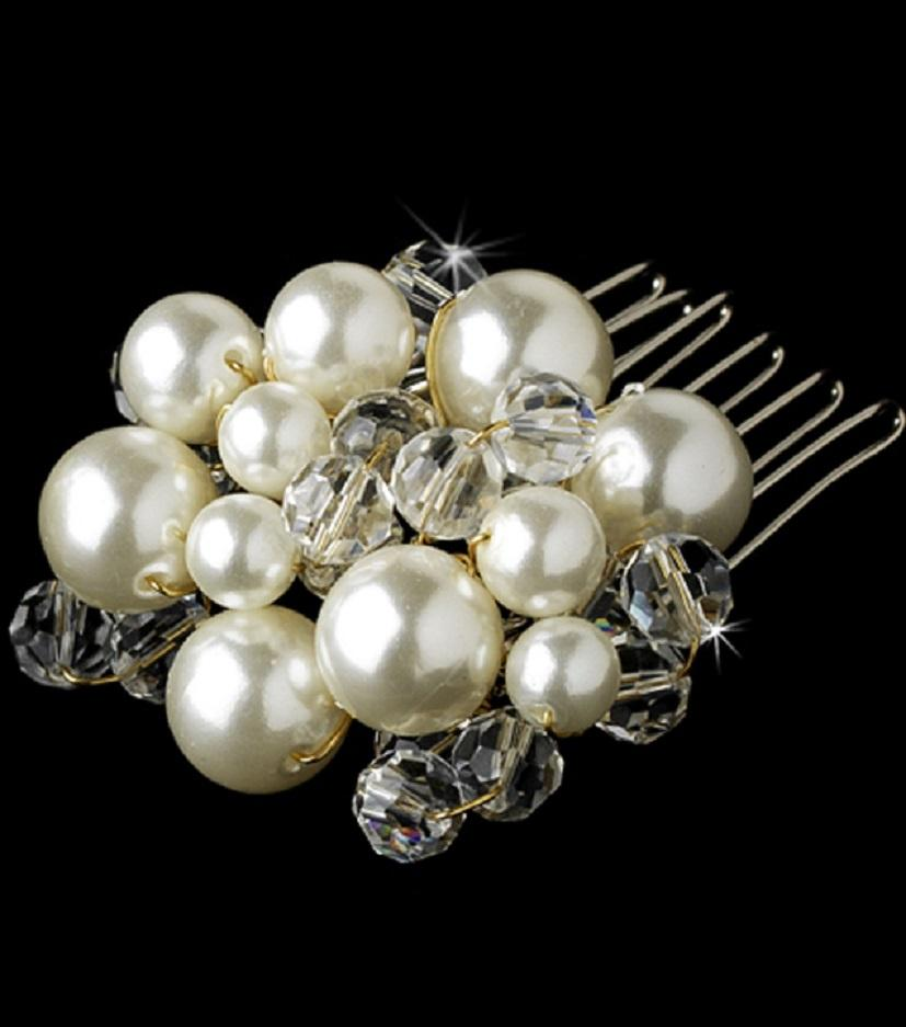 Pearl Crystal  Comb - La Bella Bridal Accessories