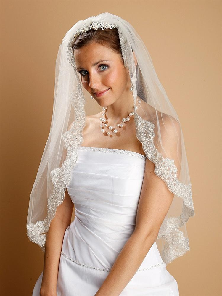 Lace Wedding Veil, Pearls Beads - La Bella Bridal Accessories