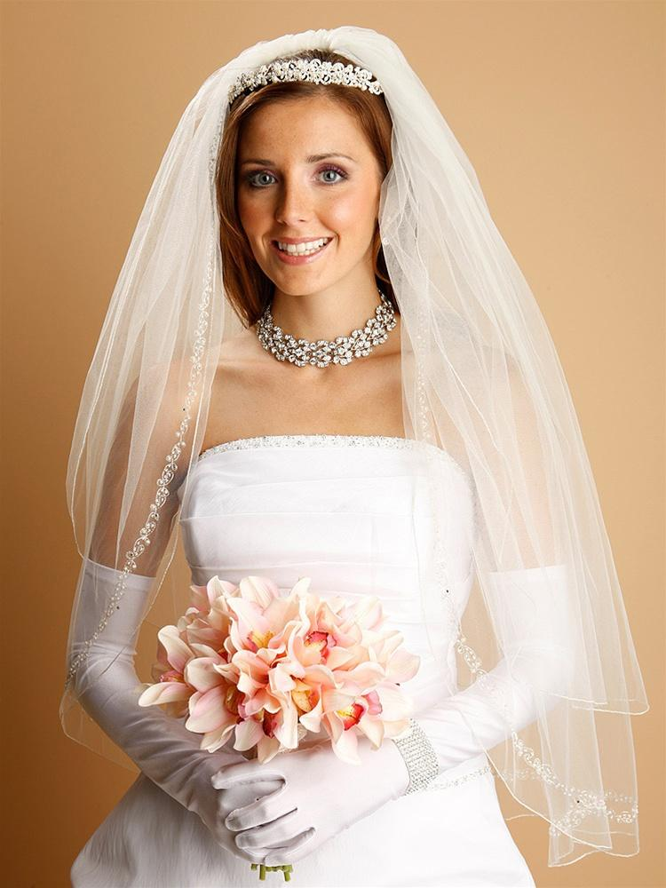 Bridal Veil with Pearls, Swarovski Crystals, Seeds Threaded Chain - La Bella Bridal Accessories