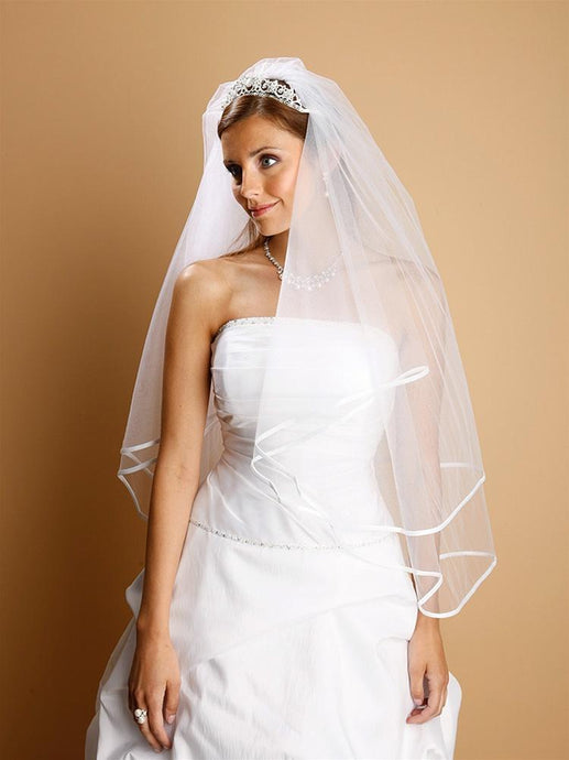 Bridal Veil, Satin Trim - La Bella Bridal Accessories