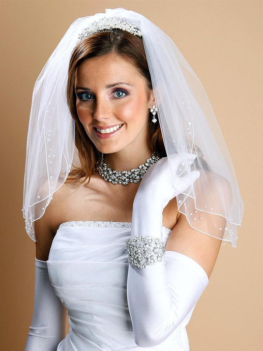 Darling 2 layer Bridal Veil with pearls sequins - La Bella Bridal Accessories