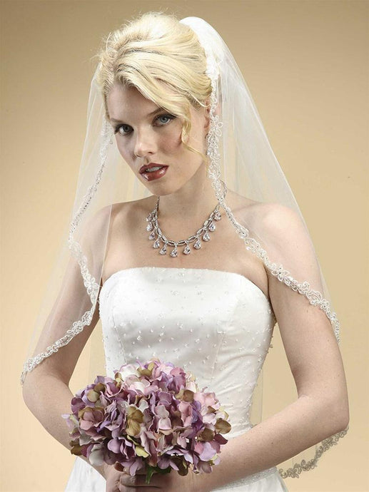 Bridal Veil, Crystal Lace Trim - La Bella Bridal Accessories