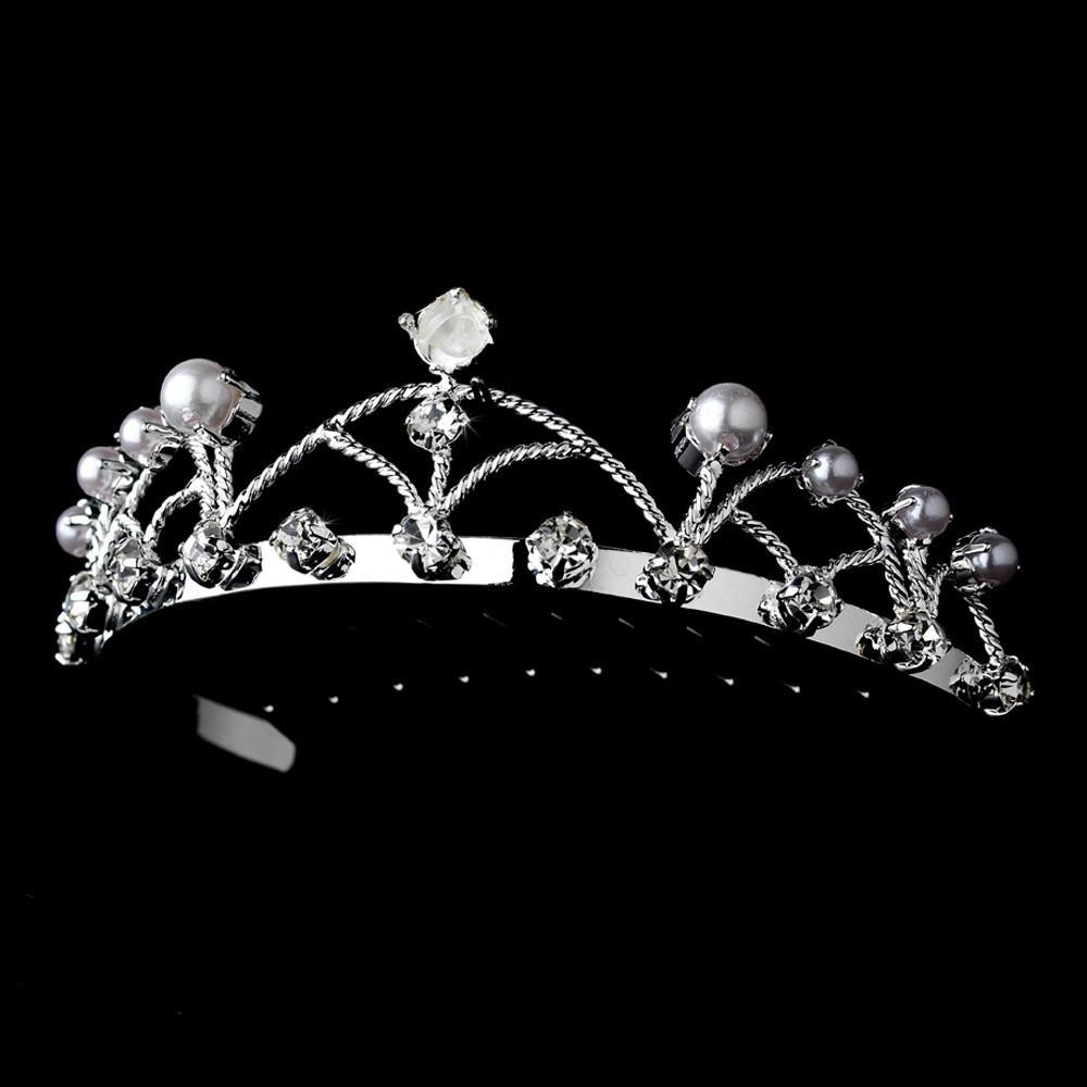 Silver and Pearl Flower Girl's Tiara Comb - La Bella Bridal Accessories