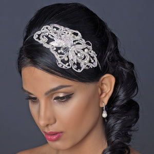 Diamond White Pearl & Crystal Side Accent Bridal Headpiece - La Bella Bridal Accessories