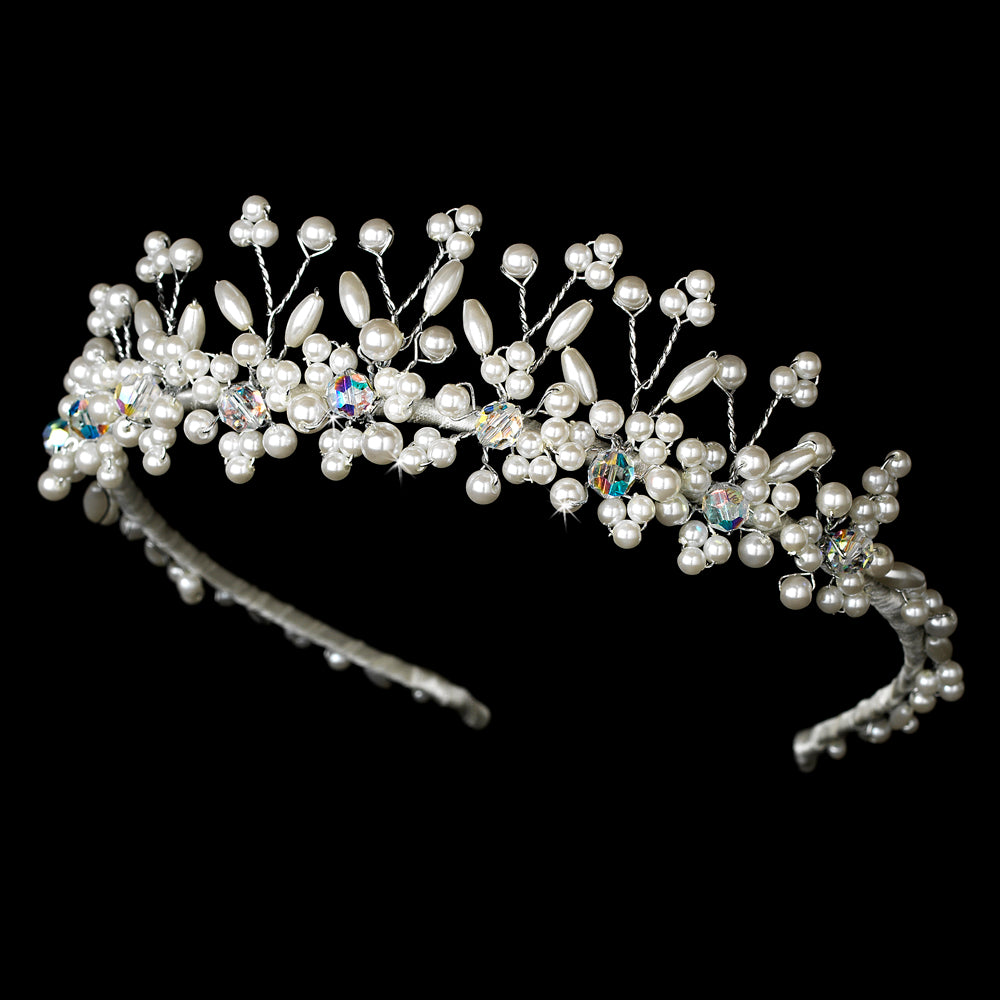 Silver Plated Ivory Pearl and Swarovski Tiara - La Bella Bridal Accessories