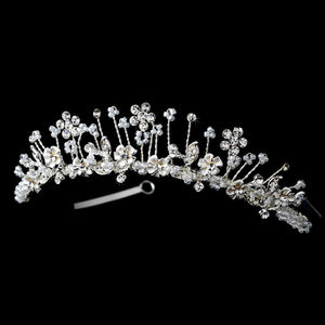 Silver Plated Cristal Flower Girl Tiara - La Bella Bridal Accessories