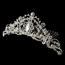 Regal Silver Wedding Crystal Tiara Bridal Comb - La Bella Bridal Accessories