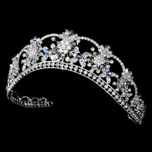 Sparkling Swarovski Crystal Silver Tiara with Blue Accents - La Bella Bridal Accessories