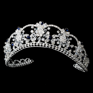 Sparkling Swarovski Crystal Tiara with Dark Blue Accents - La Bella Bridal Accessories