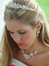 Gold or Silver, Ivory Pearl Crystal Wedding Tiara