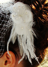 Crystal Pearl Wedding Hair Comb with Ostrich Plume & Silk Petals
