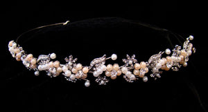 Classic Modern Crystal leaf Pearl Wedding Headband - La Bella Bridal Accessories