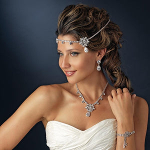 Kim Kardashian Inspired CZ and Crystal Wedding Forehead Headband - La Bella Bridal Accessories