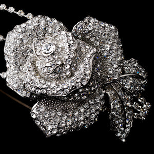 Antique Silver Flower Side Accented Headband - La Bella Bridal Accessories