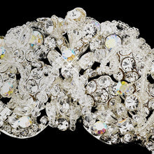 Antique Silver Aurora Borealis Crystal Wedding Headpiece - La Bella Bridal Accessories