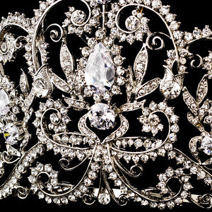 Vintage Inspired Royal Crystal & Center CZ Bridal Tiara - La Bella Bridal Accessories