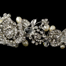 Vintage Inspired Crystal & Freshwater Pearl Rose Bridal Tiara Headpiece - La Bella Bridal Accessories