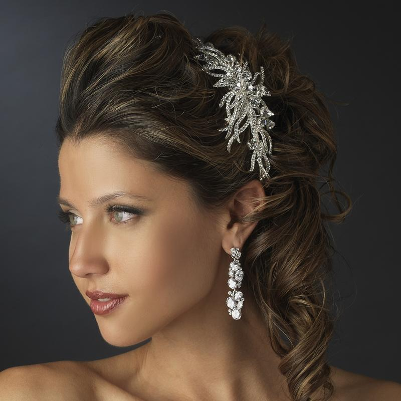 Antique Silver Multi Cut Crystal Spiral Spray Bridal Headpiece - La Bella Bridal Accessories