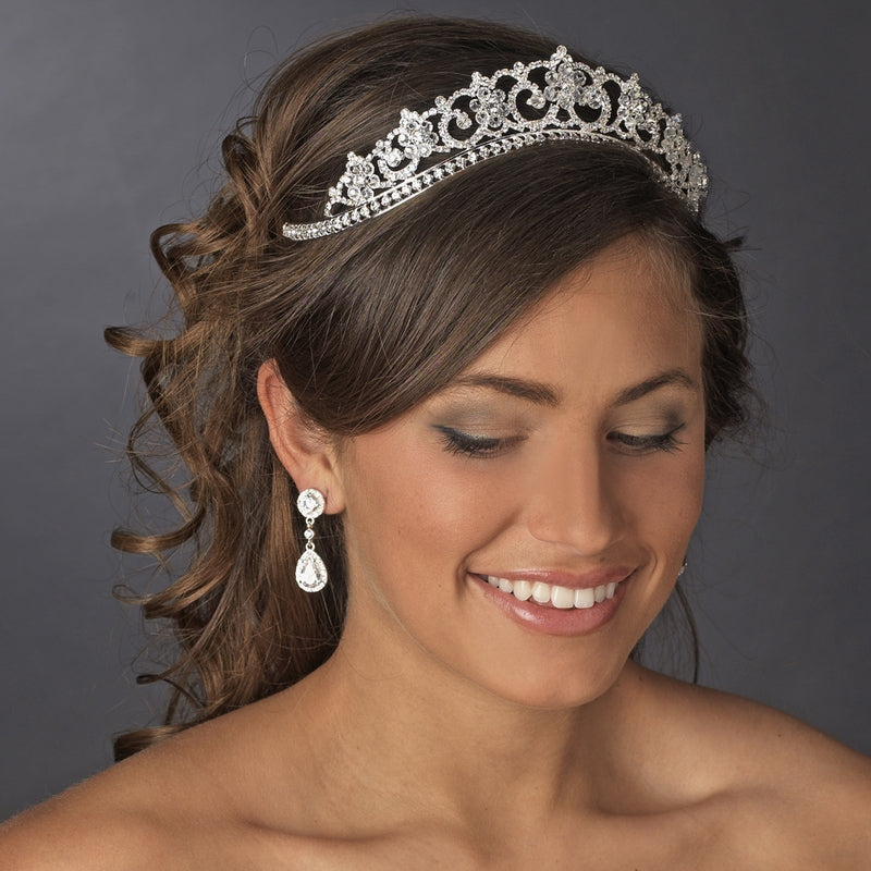 Royal Swarovski Crystal Floral Tiara Crown - La Bella Bridal Accessories