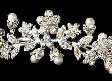 Crystal Pearl Floral Headband - La Bella Bridal Accessories