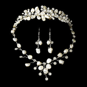 Freshwater pearl and floral crystal tiara jewelry set
