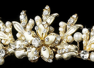 Gold or Silver, Ivory Pearl Crystal Wedding Tiara - La Bella Bridal Accessories