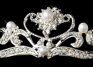 Crystal and Pearl Vine Bridal Tiara - La Bella Bridal Accessories