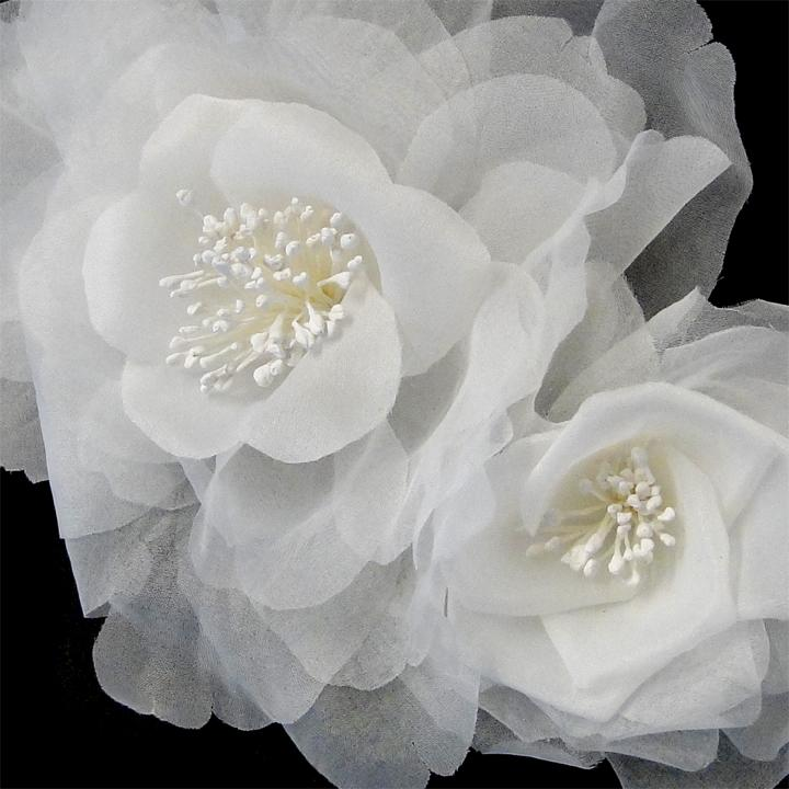 Silky Organza Bridal Flower Headpiece Hair Comb - La Bella Bridal Accessories