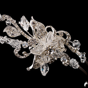 Silver plated Double Crystal Flower Headband - La Bella Bridal Accessories