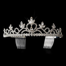 Silver Plated Navette & Round Crystal Heart Tiara - La Bella Bridal Accessories