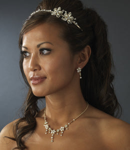 Golden Crystal  Pearl Wedding Headband with Side Accents - La Bella Bridal Accessories