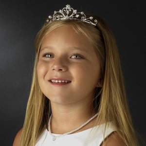 Adorable Flower Girl Crystal Pearl Tiara Crown - La Bella Bridal Accessories