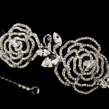 Antique Silver Crystal Flower Rose Headband