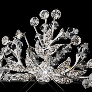 Silver Plated Swarovski Crystal Tiara Crown - La Bella Bridal Accessories