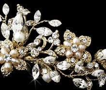 Gold plated blush pearl & crystal Tiara - La Bella Bridal Accessories