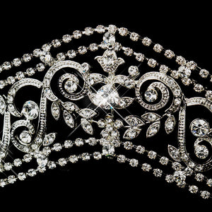 Antique Silver Crystal Bridal Tiara Headpiece - La Bella Bridal Accessories