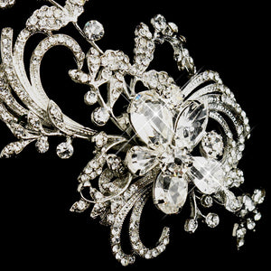 Antique Silver Side Accented Crystal Bridal Flower Headpiece - La Bella Bridal Accessories