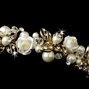 Golden Ivory Crystal and Pearl Wedding Headband - La Bella Bridal Accessories