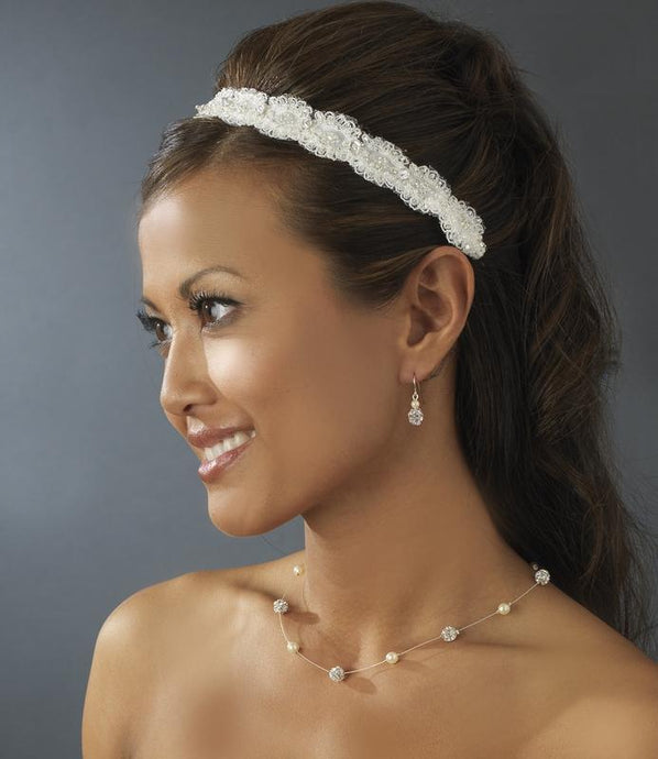 Elegant Vintage Lace, Cearl & Crystal Headband - La Bella Bridal Accessories