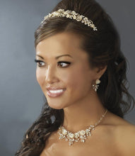Creamy Floral Crystal Elegance Bridal Pearl Headband - La Bella Bridal Accessories