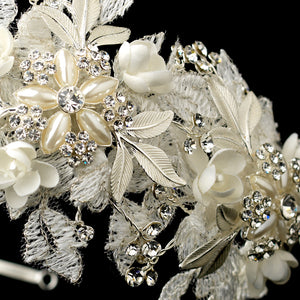Crystal, Pearl lace Flower Bridal Headband - La Bella Bridal Accessories